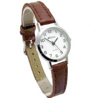 Ravel Women's Round White Dial Watch With Brown Strap R0102.12.2A